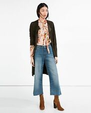 ZARA HIGH RISE BLUE FLARED CROP JEANS TROUSERS, SIZE 8- BNWT