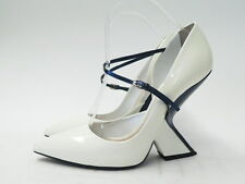 Christian Dior Pump Sculpted Heel Two Tone Patent Leather White and Navy Size 39