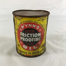 Vintage Distressed & Rusted Wynn's Friction Proofing Pint Can Opened & Empty
