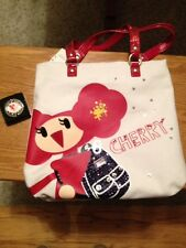 New COACH 15542 POPPY CHAN Cherry Slim Canva Tote Bag Bling Glitter Purse Hanger