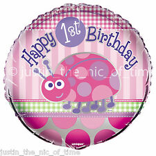 "1ST BIRTHDAY LADYBUG Pink Girl Party Decorations Helium 18"" Foil Balloon x1"