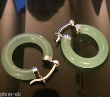 U26. Green jade jadeite creole hoop earrings 14g, 5mm x 28mm, Plum UK Gift Boxed