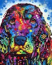 COCKER SPANIEL BY DEAN RUSSO ART PRINT 18X22 cute funny bright color dog poster