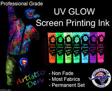 UV Neon Glow Screen Ink & Glow In The Dark UV Neon Screen Printing Ink 7 x 15ml