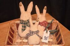 3pc Lot Grungy Muslin EASTER BUNNY Family Ornies Primitive Basket Fillers Rabbit
