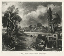 "John Constable / David Lucas ""A Lock on the Stour, Suffolk"" mezzotint engraving"