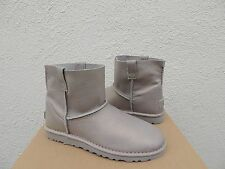 UGG CLASSIC UNLINED METALLIC SILVER LEATHER BOOTS, WOMENS US 8/ EUR 39 ~ NEW