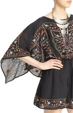 Free People 'Sheer Batiste' Embroidered Tunic Dress Black Size Large