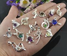 15pcs new Jewelry Fashion 925 silver mix crystal Pendant