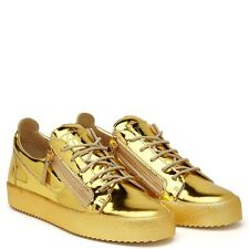 GIUSEPPE ZANOTTI DESIGN GOLD PATENT LEATHER VEGAS LOW-TOPS