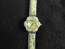 New Ladies Quartz Watch  - Green Beads in the case and band