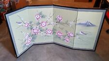 Oriental Hand Painted 4 panel Folding Screen, Beautiful Floral and Birds