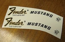 2 Fender Mustang Headstock Waterslide Decal 66-76 Vintage Guitar Bass