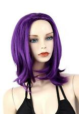 New Women Cospaly Short Synthetic Hair Anime Full Wig Straight Purple Wigs+Cap