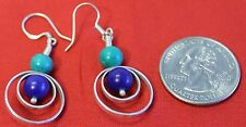 D20 HAND MADE TIBETAN STERLING SILVER EARRING with Lapis .925 made in Nepal