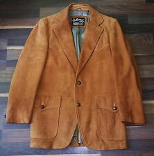 Vintage SEARS LEATHER SHOP Rust Suede Leather Cowboy Sport Coat Blazer Men's 40R