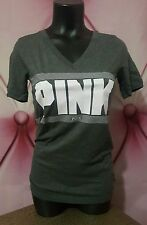 Victorias Secret PINK Marled Gray Graphic Short Sleeve Perfect Tee Shirt S