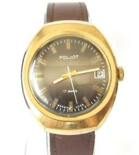 VINTAGE MEN'S POLJOT RARE WATCH GOLD PLATED RUSSIAN/USSR BEAUTIFUL DIAL # 8