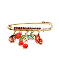 Broche Cerise Bouche Insect Beatles Rouge Vert Original XZ 2