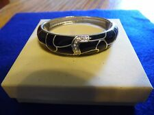 "Lia Sophia Silver & Black ""Meander"" Magnetic Bangle Bracelet Small"
