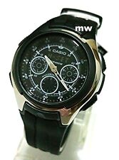 NEW CASIO WORLD TIME 5 ALARMS AQ-163W-1B1 SPORTS YACHT TIMER RUBBER MENS WATCH