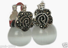 VINTAGE 925 STERLING SILVER 12MM CLEAR WHITE OPALS BEADS MARCASITE EARRINGS