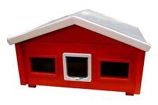 Outdoor Katzenhaus wetterfest Landhaus mit Katzenklappe + 2 Fenster - RS2-L-2F