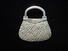 """JJ"" Jonette Jewelry Silver Pewter Textured Handbag Pin"
