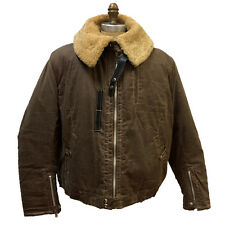 MENS WINTER BROWN WAXY COTTON CANVAS CANAL JACKET, SHEEPSKIN COLLAR  LINING, 2XL