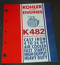 "KOHLER ENGINES 4 CYCLE AIR COOLED ""K482"" SPECIFICATION BROCHURE 4 PAGES  (634)"