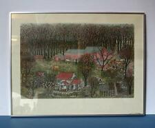 "Cuca Romley The Stables Etching Framed 28"" x 22"" Print Embossed Artist's Name"