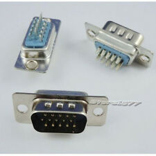 5Pcs Soldering 3 Row DB-15 Male 15Pin Plug VGA D-Sub Connector Adapter s771-1