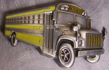 Pewter Belt Buckle Vehicle Yellow Schoolbus School Bus