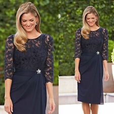 New Navy Blue Lace Short Mother of the Bride Dresses Formal Party Evening Dress
