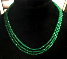 Natural Brazil 3 Rows 4mm Faceted Green Emerald Gems Beads Necklace 17-19''