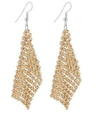 GOLD PLATED MESH, SEQUINED CHAIN LINK DROP DANGLE EARRINGS