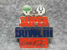 Coca-Cola Super Bowl III 1969 NY Jets & Baltimore Colts Communicorp 1985 Pin