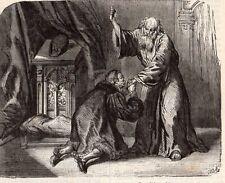 PARIS LOUIS XI SE RECOMMANDANT A ST FRANCOIS IMAGE 1878 ENGRAVING
