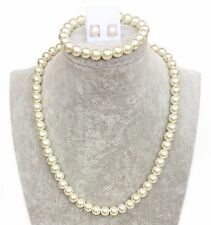 Ladies Cream Faux Pearl Necklace SET with Bracelet and earrings - 17 inches 8mm