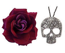 DAY OF THE DEAD GOTHIC DARK RED ROSE + LONG LARGE SKULL PENDANT NECKLACE