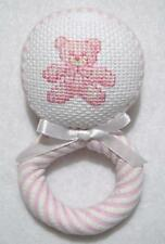 HAND~CROSS STITCHED PINK STRIPED SEERSUCKER TEDDY BEAR FABRIC BABY RATTLE~41/2""