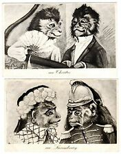 POSTCARDS (2) MAURICE BOULANGER SIGNED DRESSED MONKEYS TWO CARDS