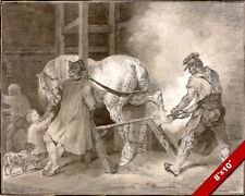 SHOEING A HORSE IN THE BLACKSMITH'S SHOP PAINTING ART REAL CANVAS GICLEE PRINT