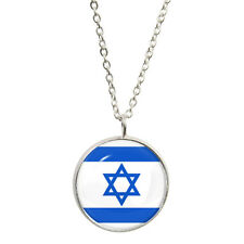 Israel Flag Design Pendant and Silver Plated Necklace Israeli star of David BNIB