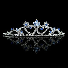 Kids Blue Flower Girl Children Wedding Prom Tiara Crown Headband - Kid Size