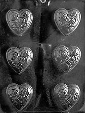 HEART WITH FLOWERS ROSE Chocolate Candy Soap molds party favors romantic
