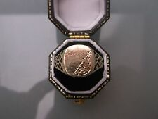 Vintage Men's Signet Ring 9ct Gold Size T Stamped Weight 2.2g Hallmarked