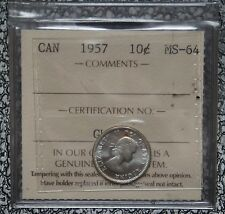 1957 CANADA - 10 CENTS SILVER - ICCS Graded MS 64 - Some Tone - NCC
