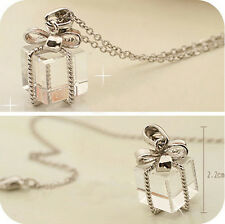 Transparent Small Gift Box Bow Long Chain Necklace Pendant Silver Jewelry Gift