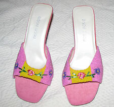 Bisou Bisou Napoli Pink Heels Sandals Beaded & Embroidered 7.5M Never Worn